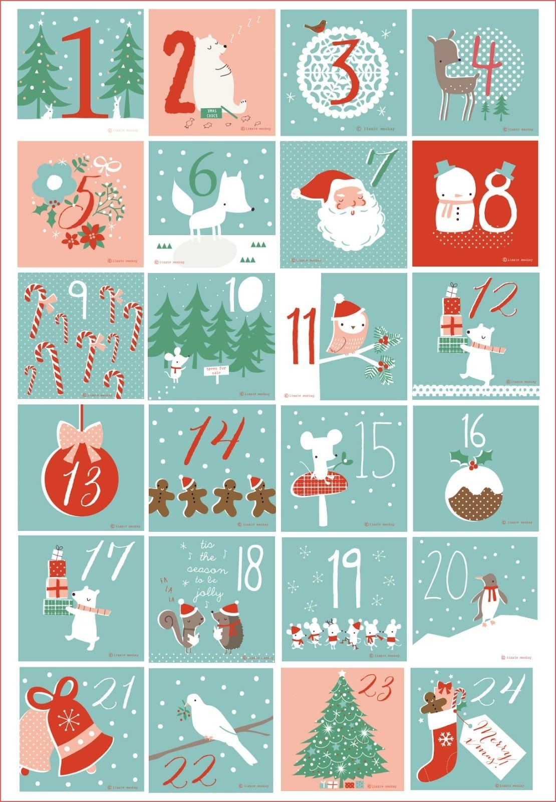 Blank Advent Calendar 2017 Printable Calendar Template 2018 for Advent Calendar Printable Numbers Calendar Template