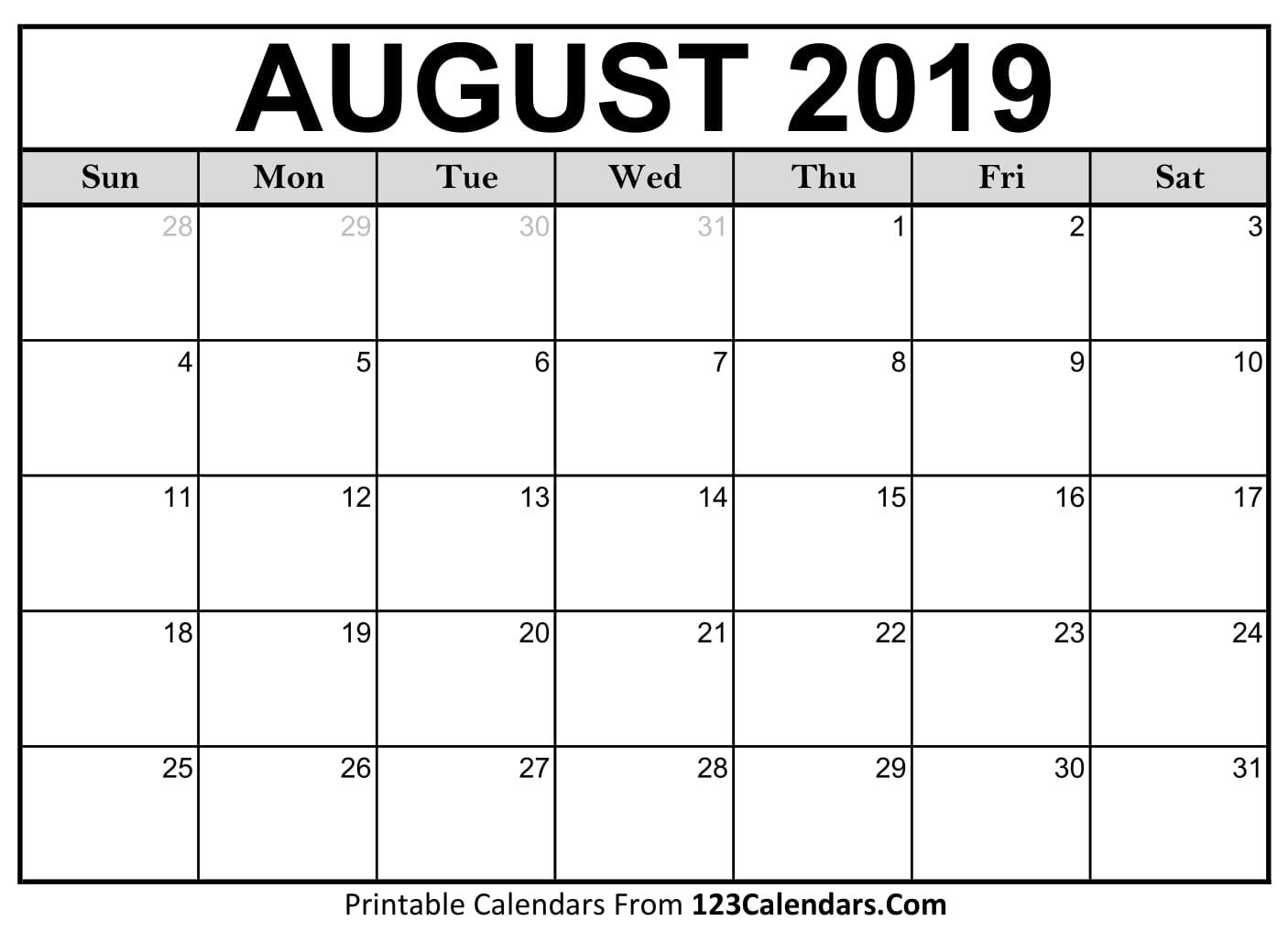 Blank August 2019 Calendar - Easily Printable - 123Calendars regarding Month Of August On A Calendar