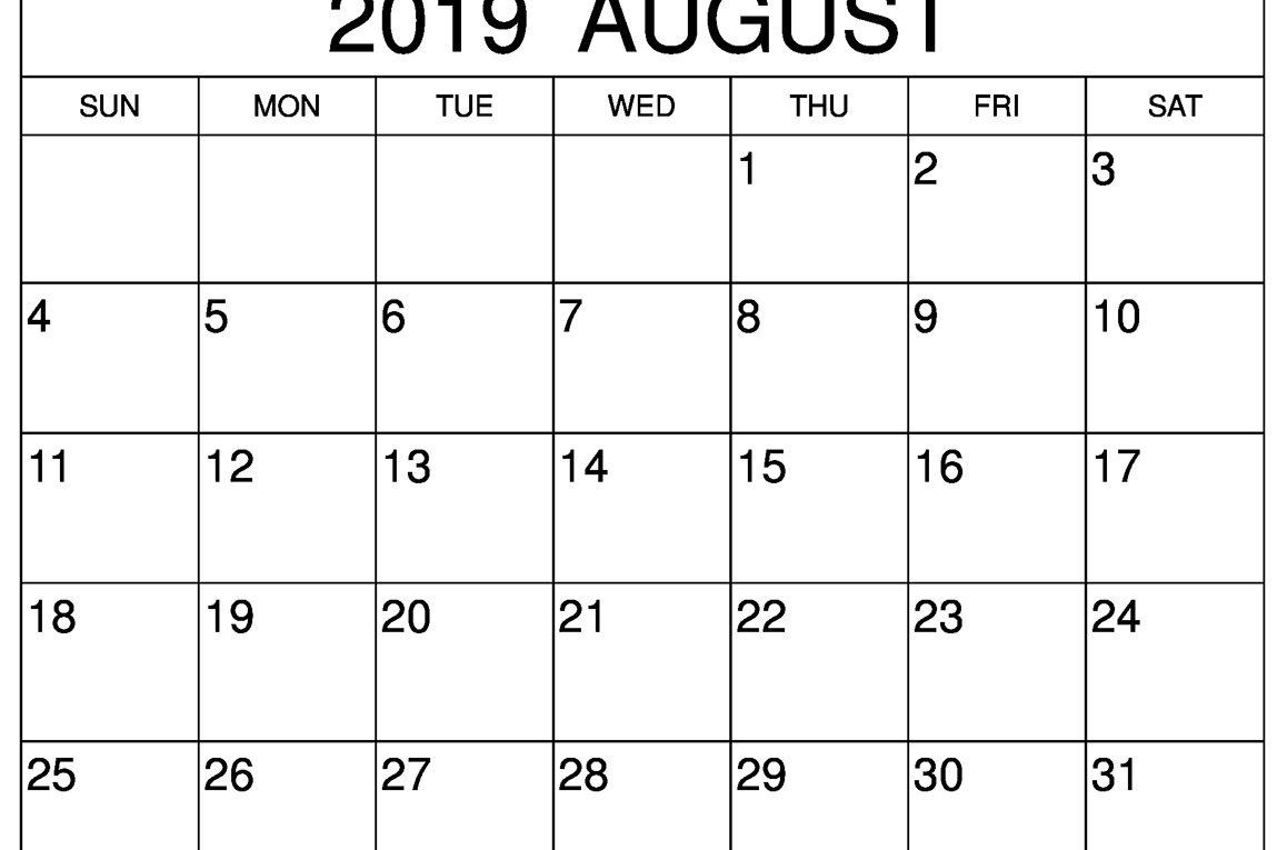 Blank August 2019 Calendar Editable Template For Time Schedule in Picture Of August On Calendar