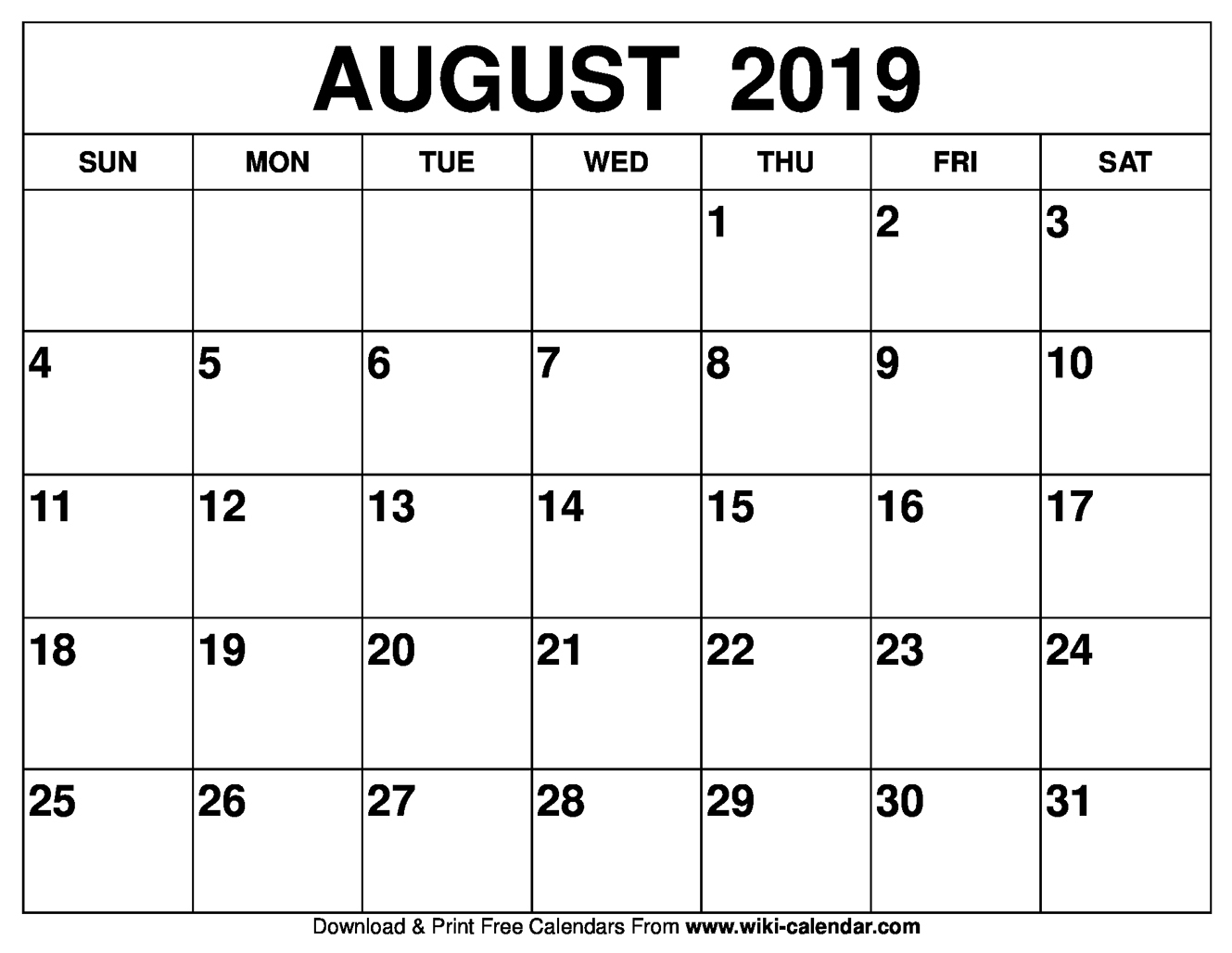 Blank August 2019 Calendar Printable with regard to Picture Of August On Calendar