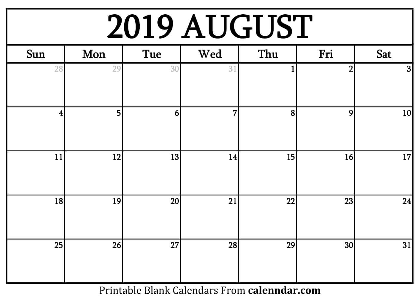 Blank August 2019 Calendar Templates - Calenndar in Picture Of August On Calendar
