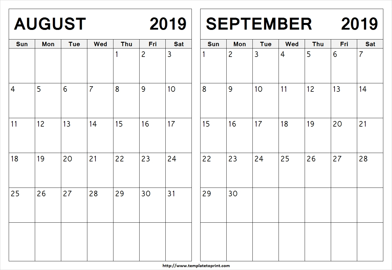 Blank August September 2019 Calendar Template | 2 Month Calendar pertaining to August And Septmber Calendar Together