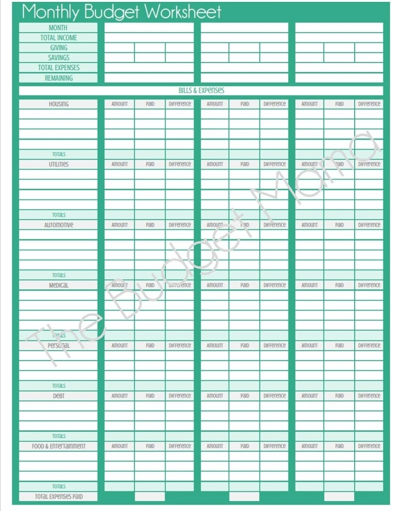 Blank Budget Worksheet Printable | Spreadsheets for Monthly Bill Payment Blank Worksheet