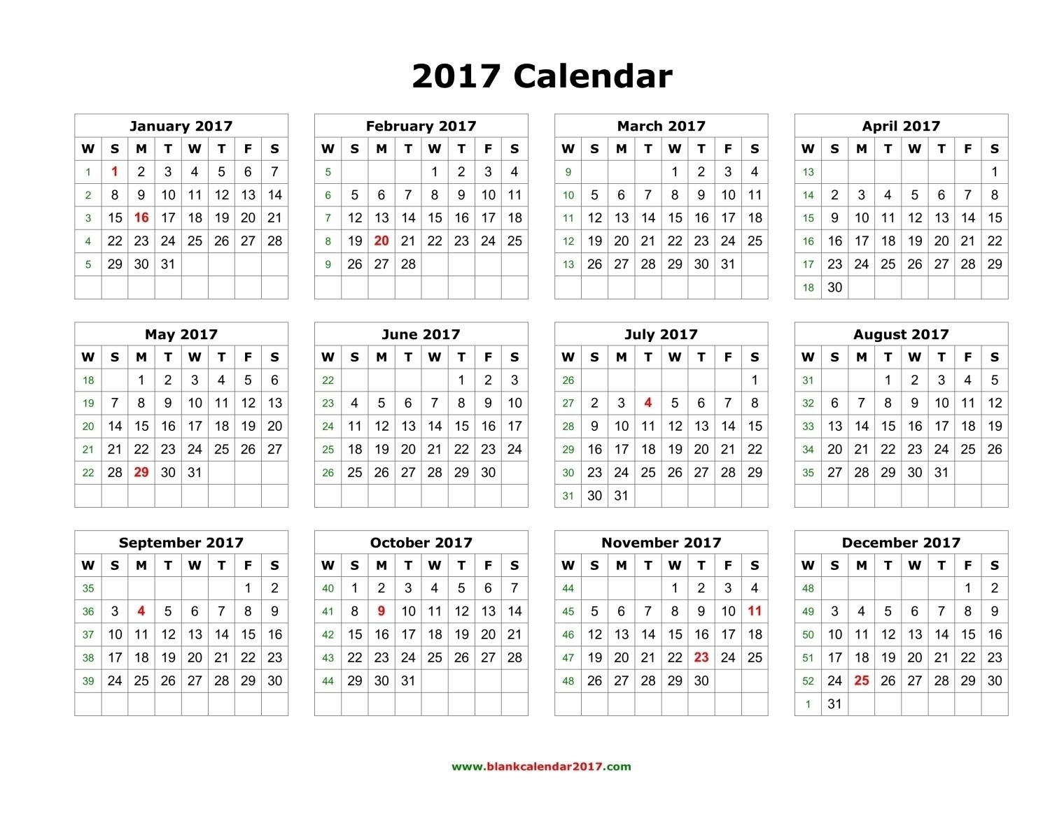 Blank Calendar 2017 inside Blank Calendar Page Year Long