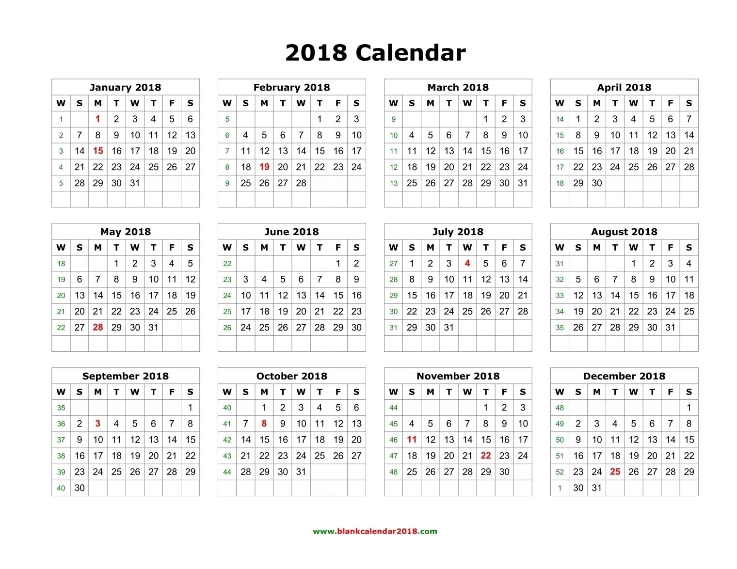 Blank Calendar 2018 regarding 1 Page Year Long Calendar Printable Free
