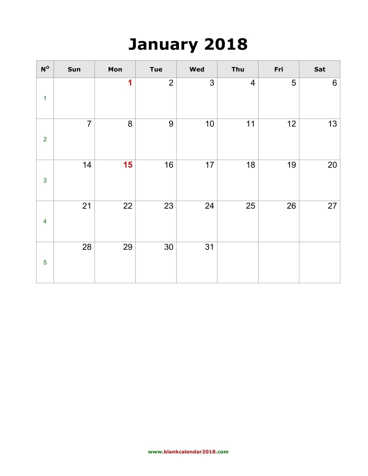 Blank Calendar 2018 regarding Monthly Calendars Monday Through Friday