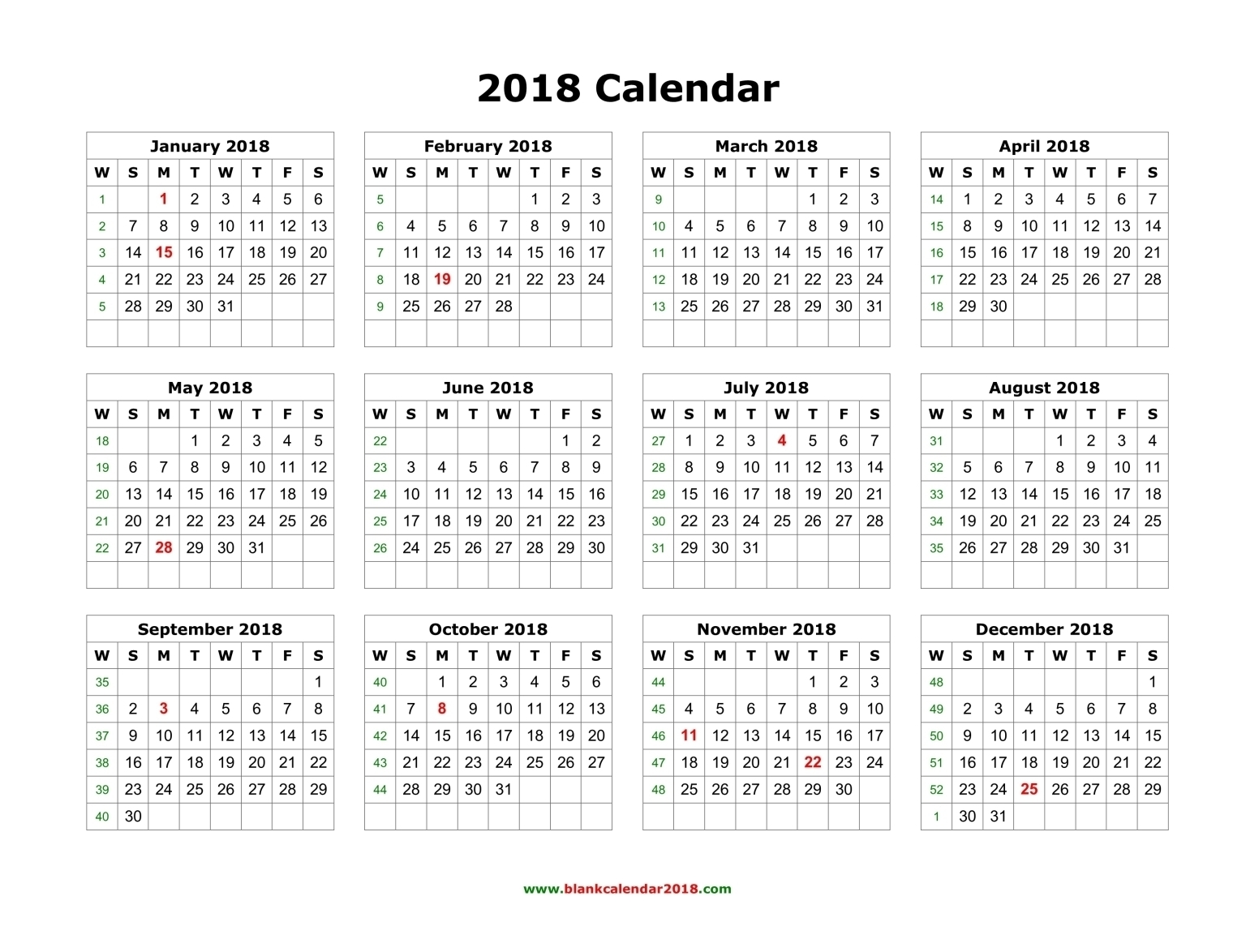 Blank Calendar 2018 with Fill-In Blank 12 Month Calendar