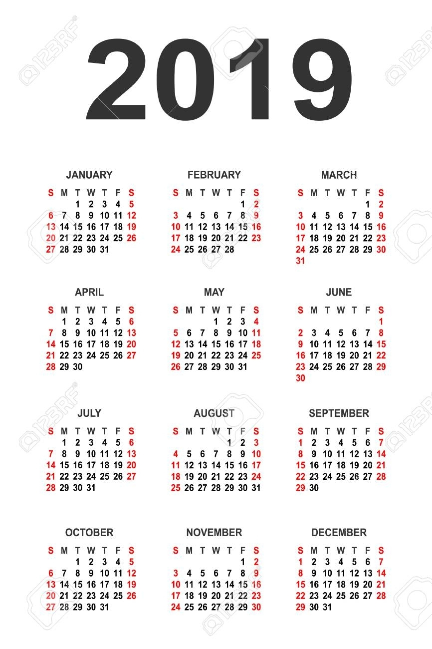 Blank Calendar 2019 Free Download Calendar Templates. 2019 Simple in Year At A Glance Calendar Simple Design