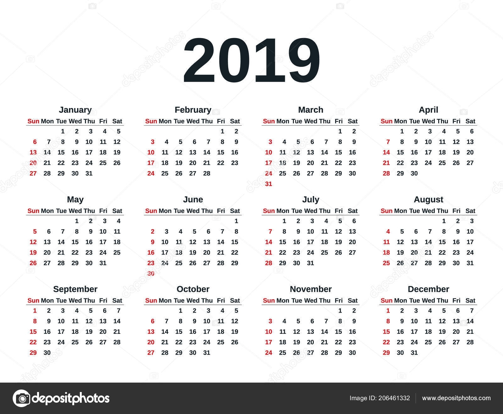 Blank Calendar 2019 Free Download Calendar Templates. 2019 Simple intended for Year At A Glance Calendar Simple Design