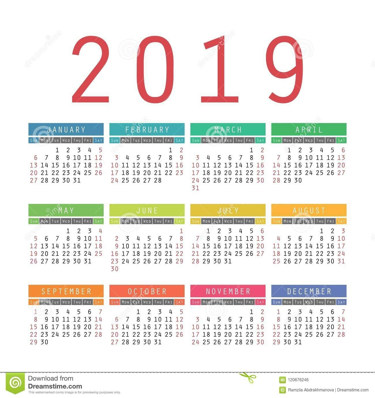 Blank Calendar 2019 Free Download Calendar Templates. 2019 Simple regarding Year At A Glance Calendar Simple Design