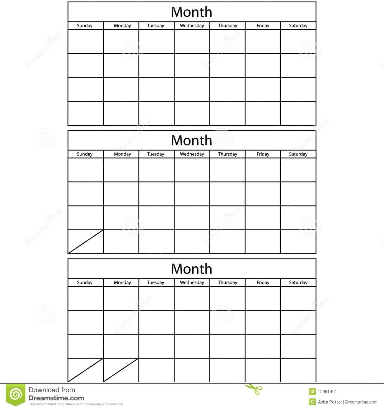 Blank Calendar 3 Templates Stock Vector. Illustration Of Month in Three Month Single Page Calendar