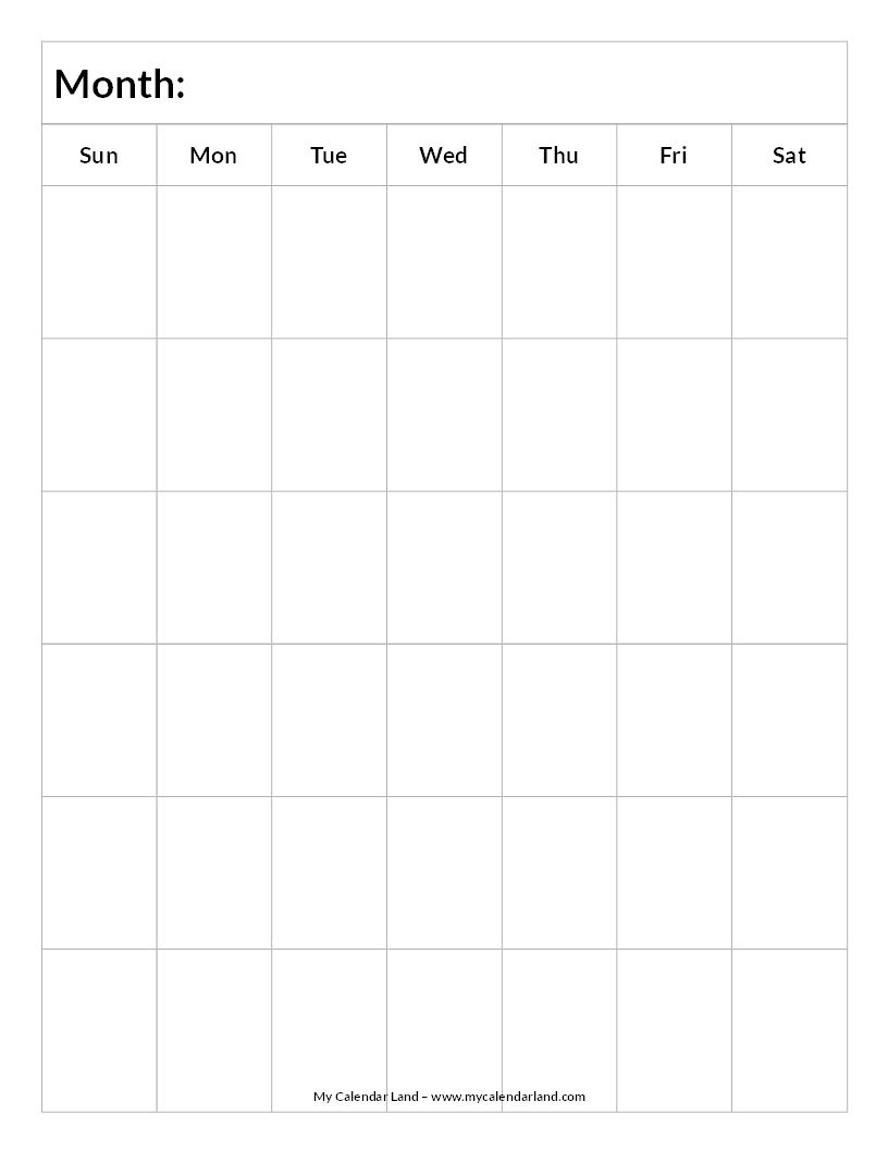 Blank-Calendar-6-Weeks-Portrait-C … | Everything Else.for Now in Excel Calendar Template 6 Weeks
