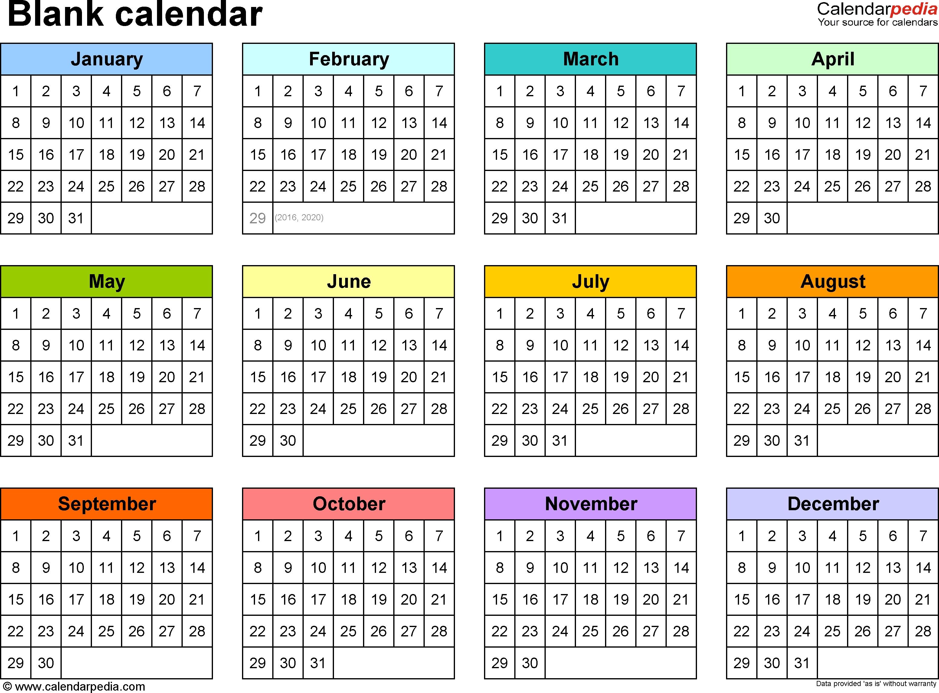 Blank Calendar - 9 Free Printable Microsoft Word Templates inside 1 Page Year Long Calendar Printable Free