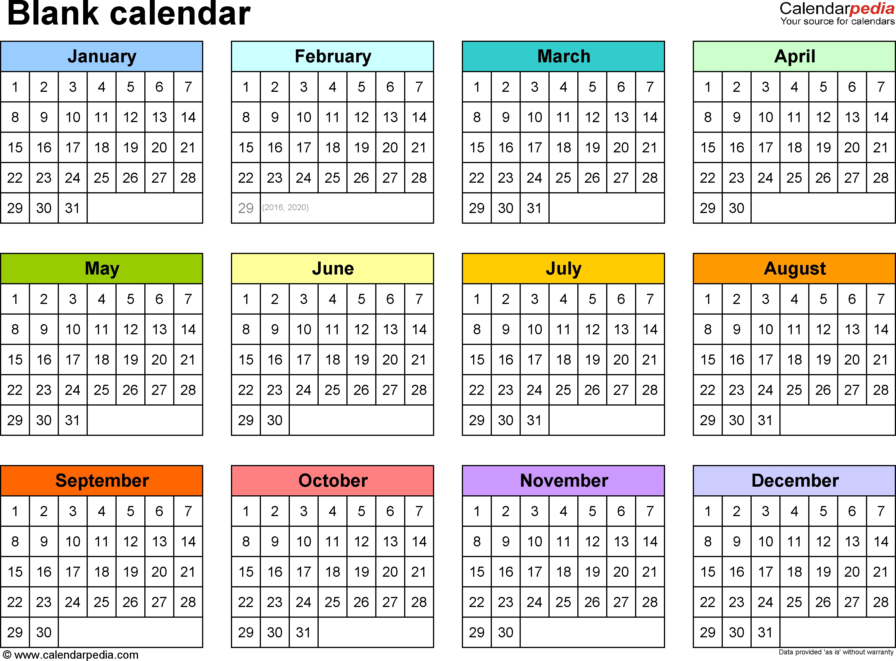 Blank Calendar - 9 Free Printable Microsoft Word Templates intended for Blank Year At A Glance Calendar Template