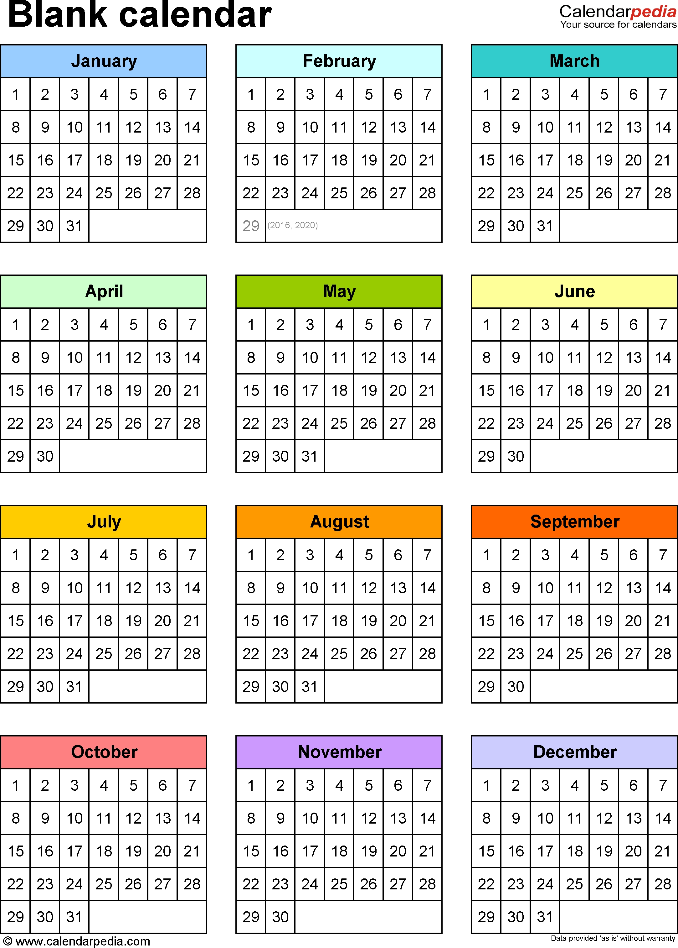 Blank Calendar - 9 Free Printable Microsoft Word Templates pertaining to Free Printable Calendar Year At A Glance Calendar