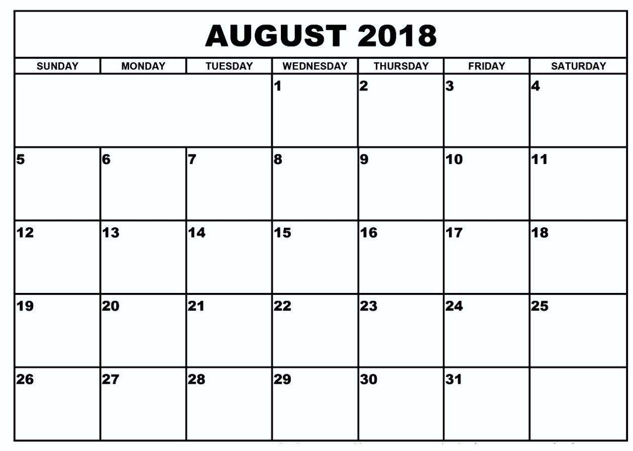 Blank Calendar August 2018Week Or Month inside August Printable Calendar By Month