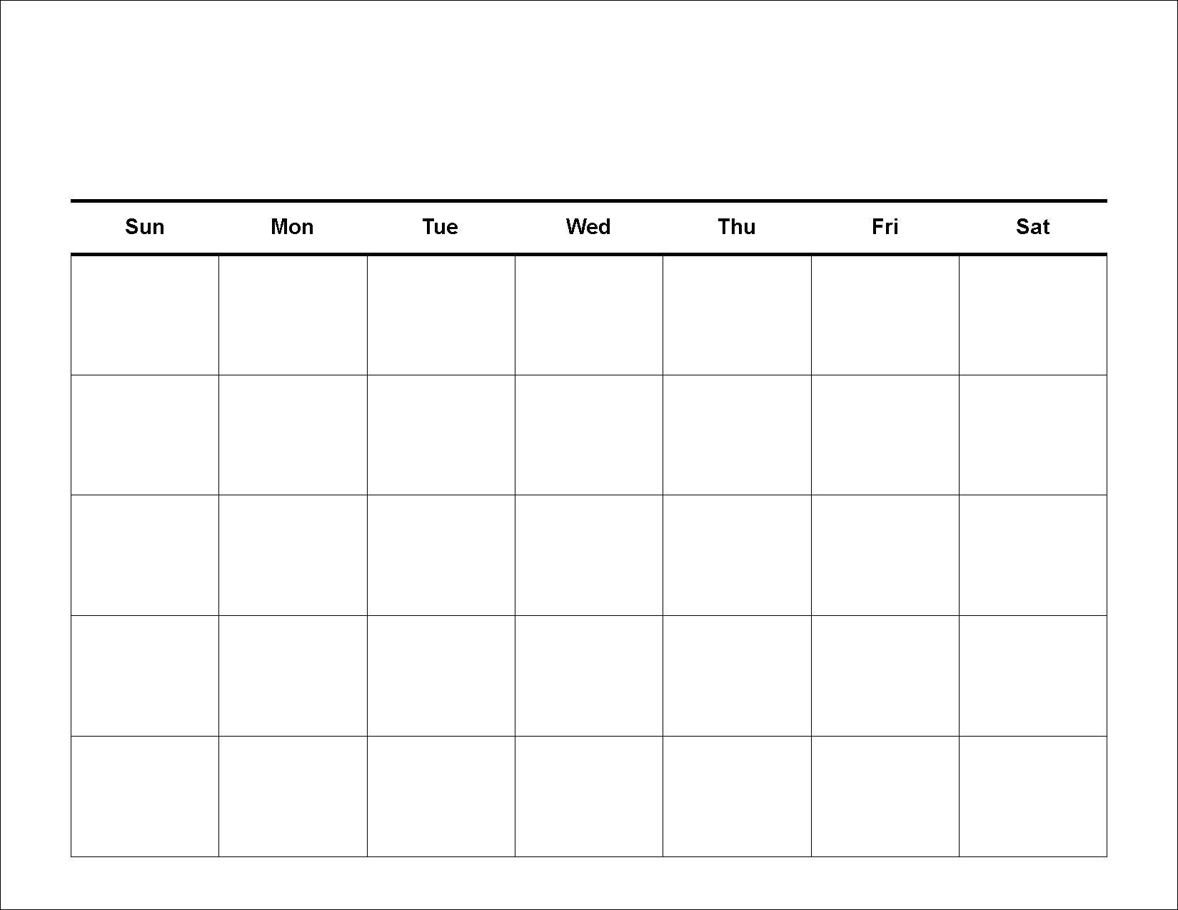 Blank Calendar Day Week Template Without Days Of The E Free | Smorad in Blank Days Of The Week Calendar