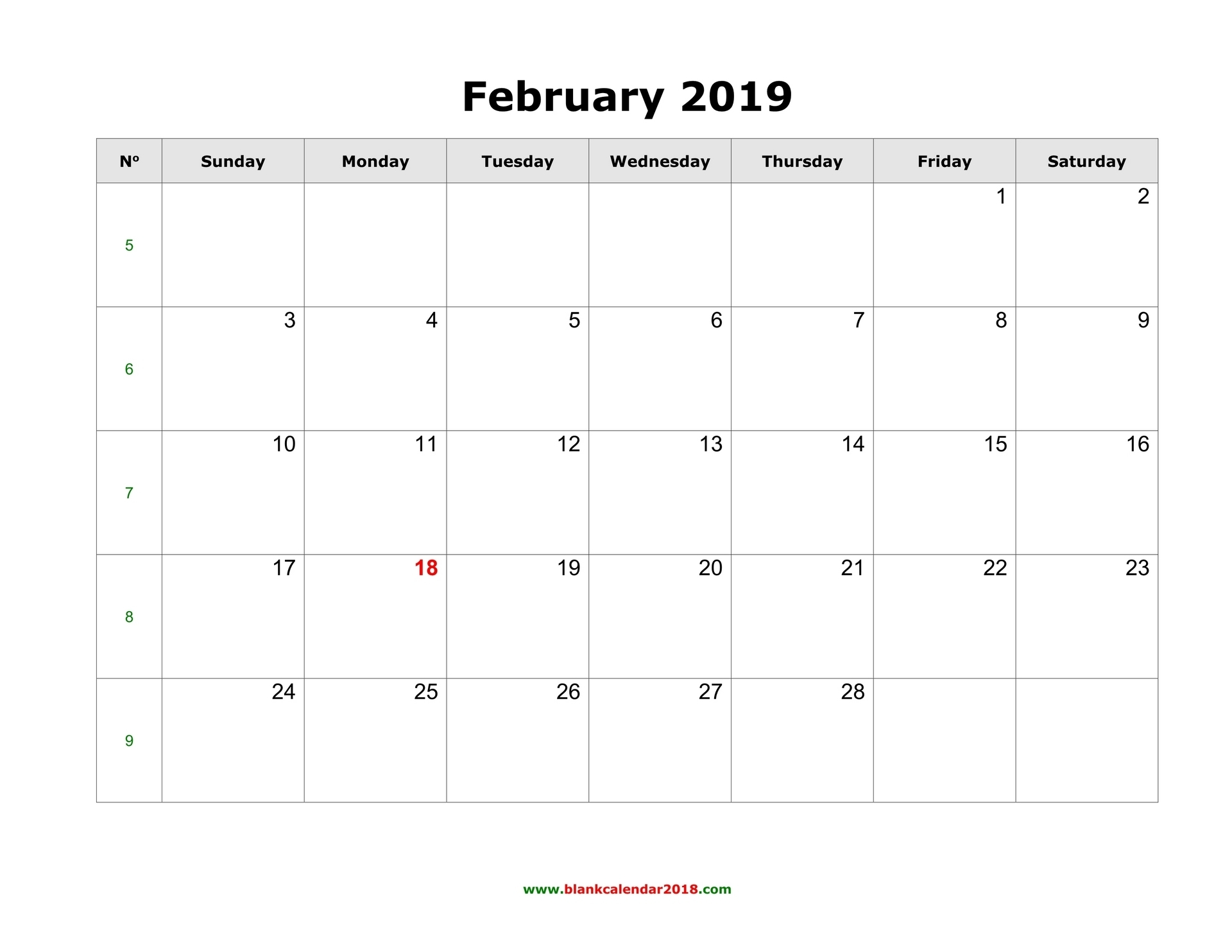 Blank Calendar For February 2019 intended for Blank Calendar With Only Weekdays