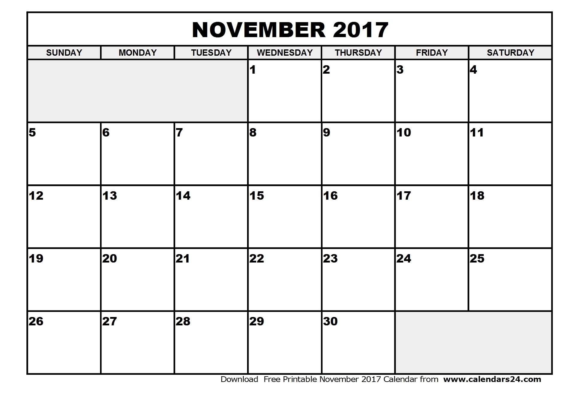 Blank Calendar For November And December 2017 Of With inside Blank Calendar For November And December