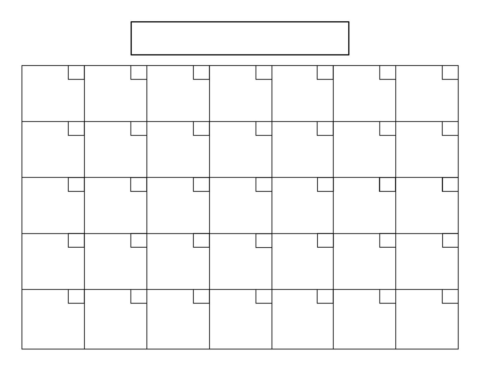 Blank Calendar Grid On 31 Day Calendar Template - Free Calendar for 31 Day Month Calendar Printable
