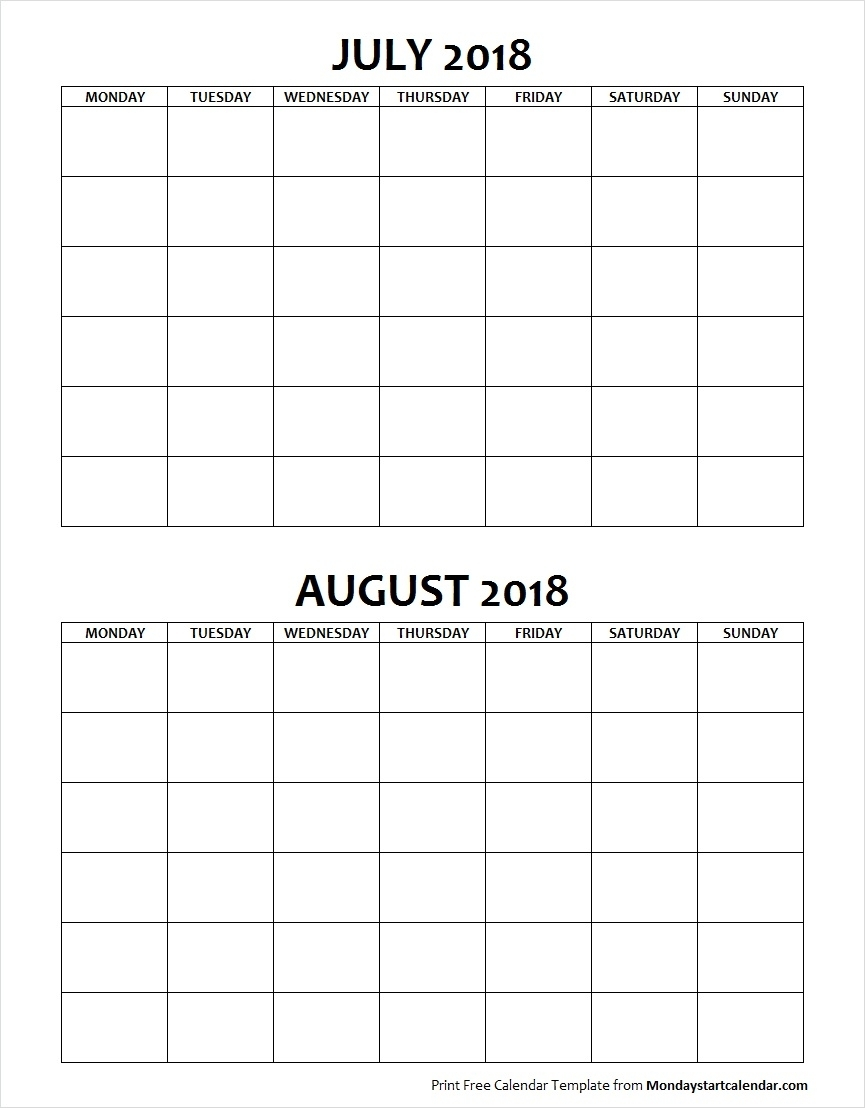 Blank Calendar July And August 2018 Monday To Sunday Archives pertaining to July Calendar Monday To Sunday