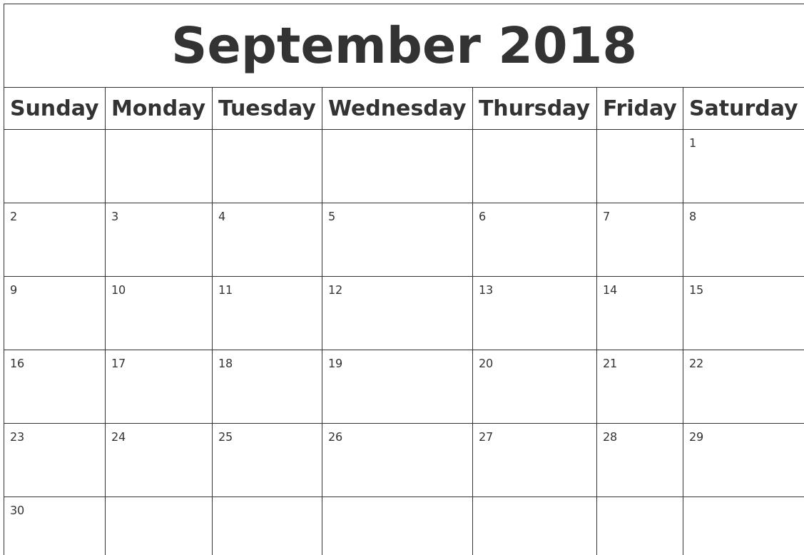 Blank Calendar September 2018 Word | Blank Calendar September 2018 for Calendar Of The Month Of September