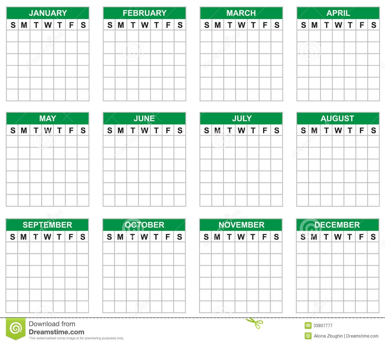 Blank Calendar Stock Vector. Illustration Of Grid, Isolated - 33807777 inside Calender Without Numbers And Month