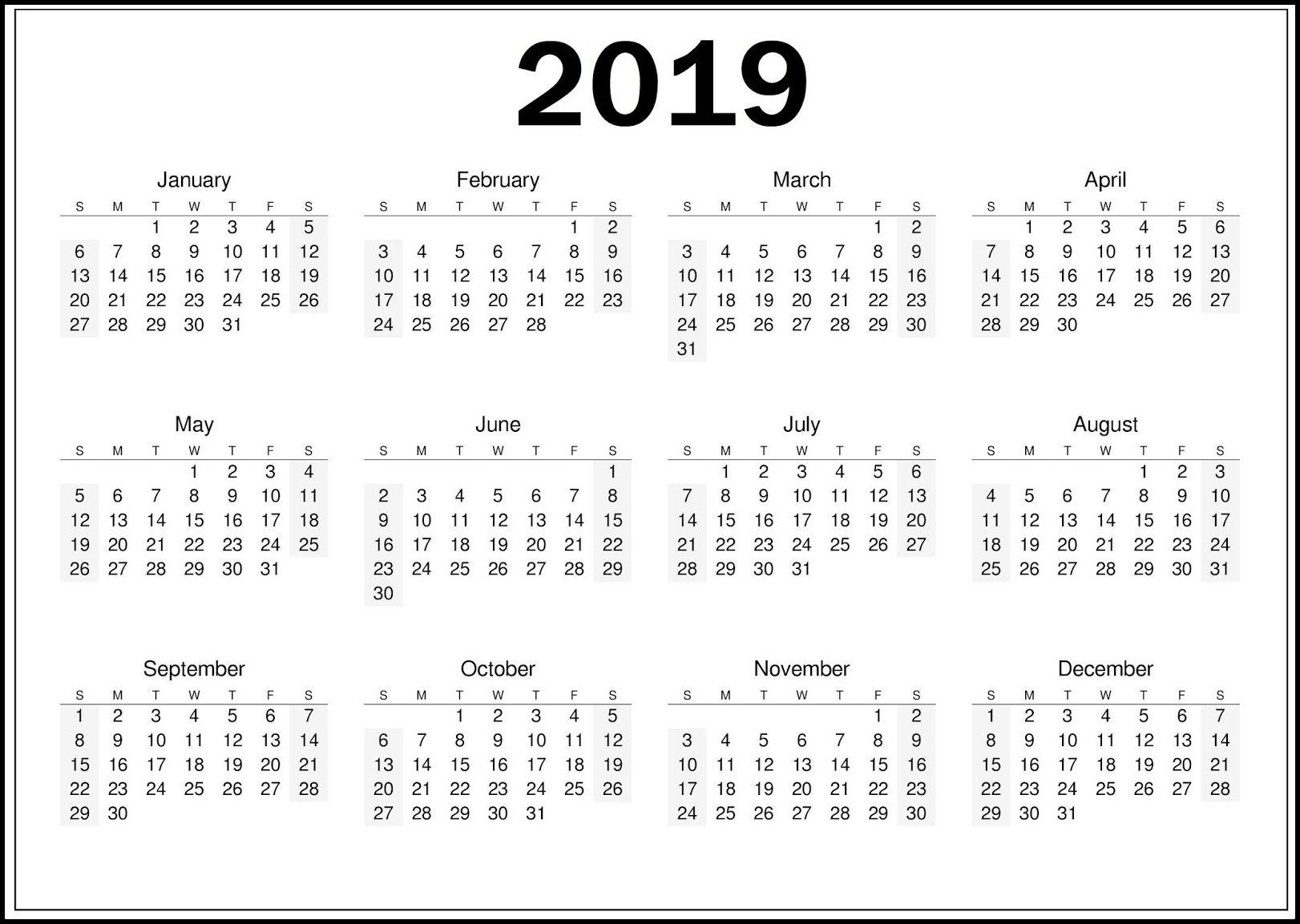 Blank Calendar Template 2019 Download   Top 10 Free 2019 Calendar within 12 Month Calendar Picture Ideas