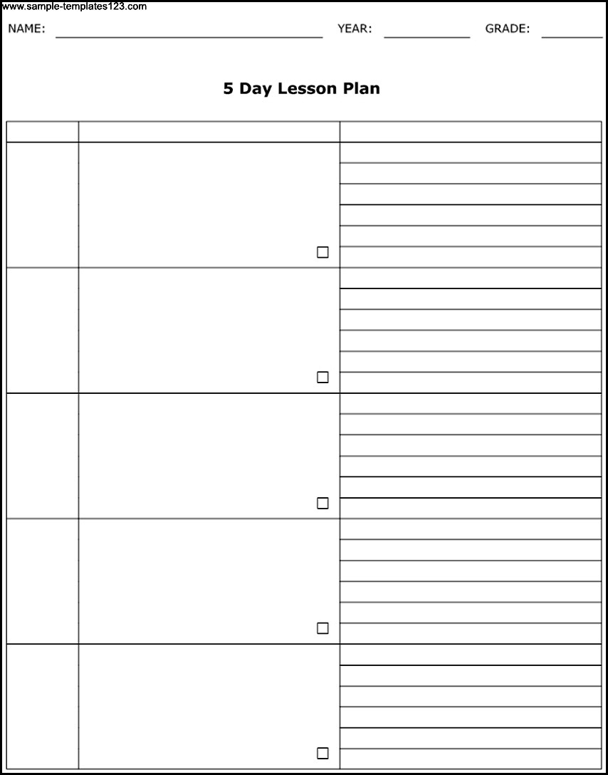 Blank Calendar Template Day Schedule Meal Planner Training Excel in Blank Calendar Template 5 Day