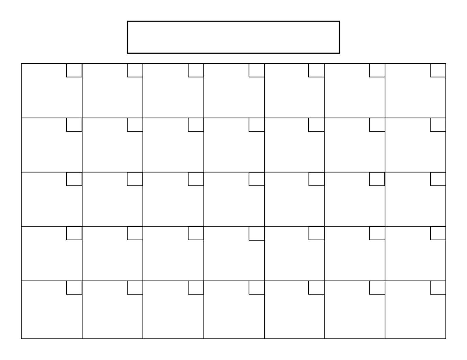 Blank Calendar With 31 Day Calendar Template - Free Calendar Collection throughout Printable Blank 31 Day Calendar