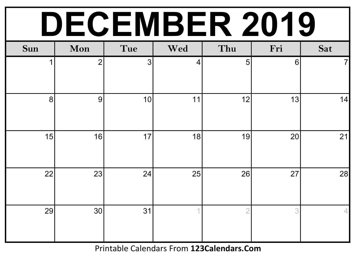 Blank December 2019 Calendar - Easily Printable - 123Calendars for Free Printable September Blank Calendars With Christian Themes