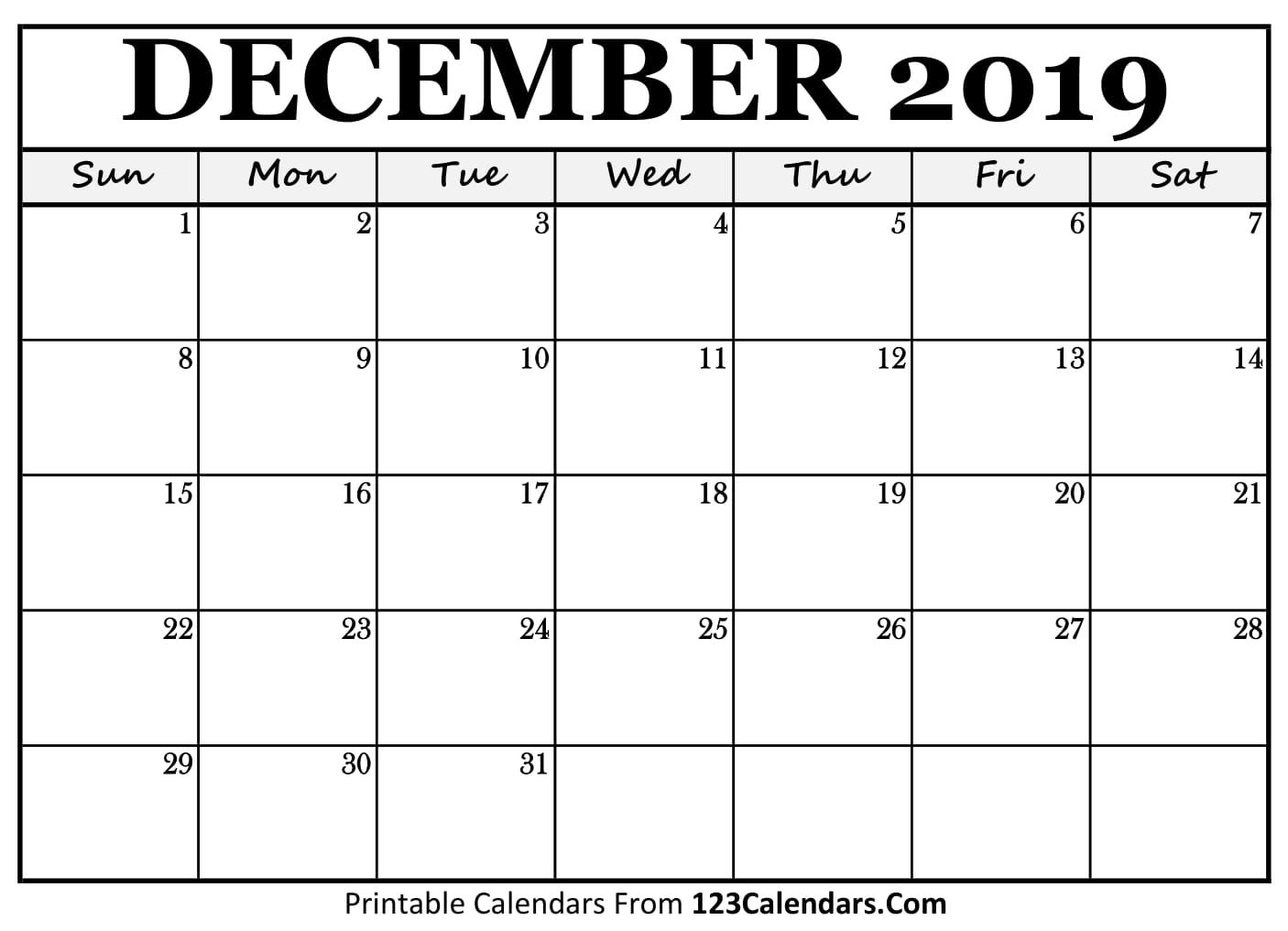 Blank December 2019 Calendar - Easily Printable - 123Calendars within Free Printable September Blank Calendars With Christian Themes