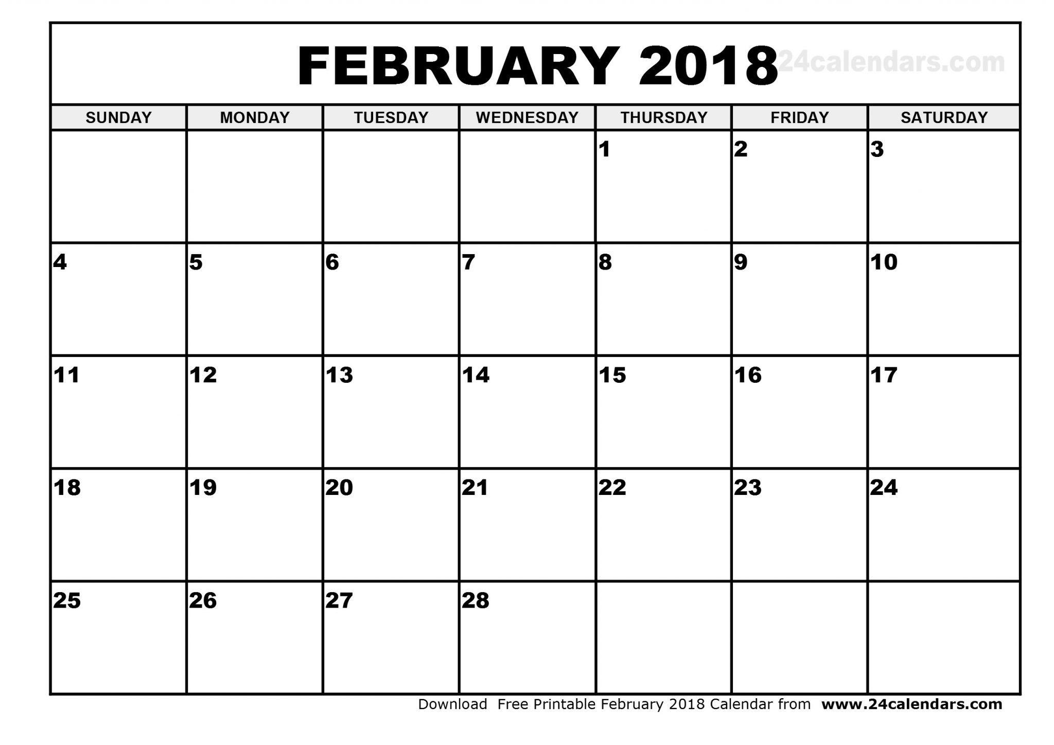 Blank February 2019 Calendar Printable | Free Printable February intended for A3 Blank Calendar Monthly Template