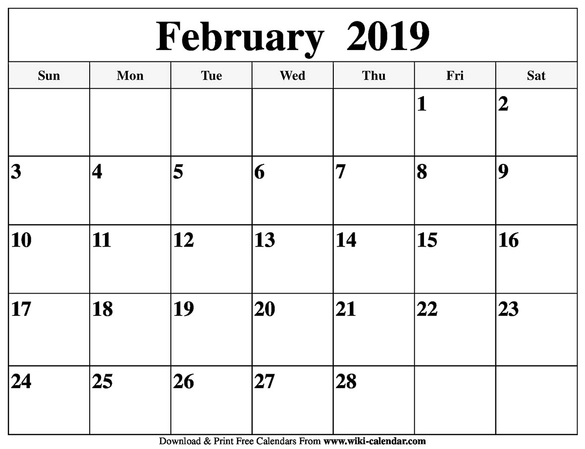 Blank February 2019 Calendar Printable with regard to What Day Is It Calendar