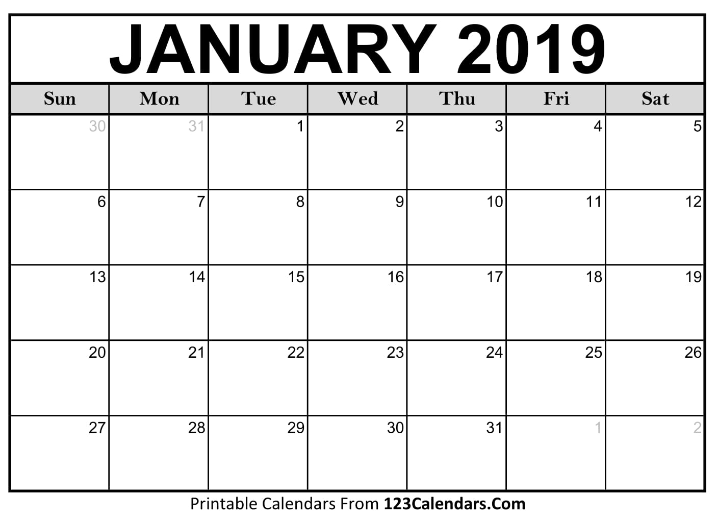 Blank January 2019 Calendar - Easily Printable - 123Calendars pertaining to Picture Of A January Calender