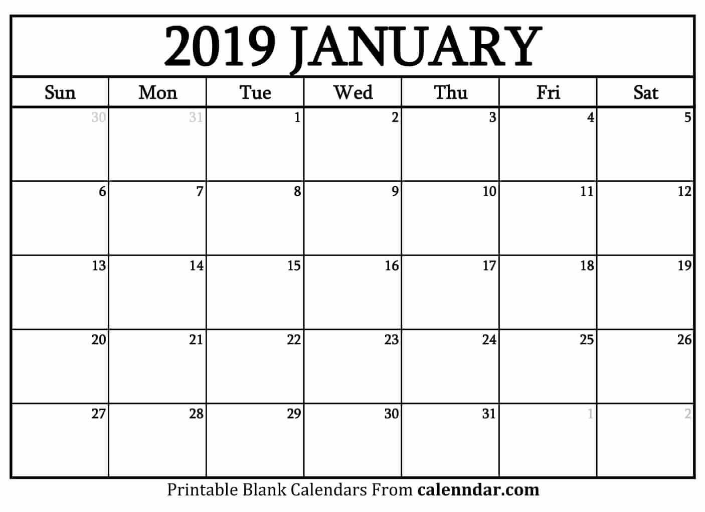 Blank January 2019 Calendar Templates - Calenndar throughout Picture Of A January Calender