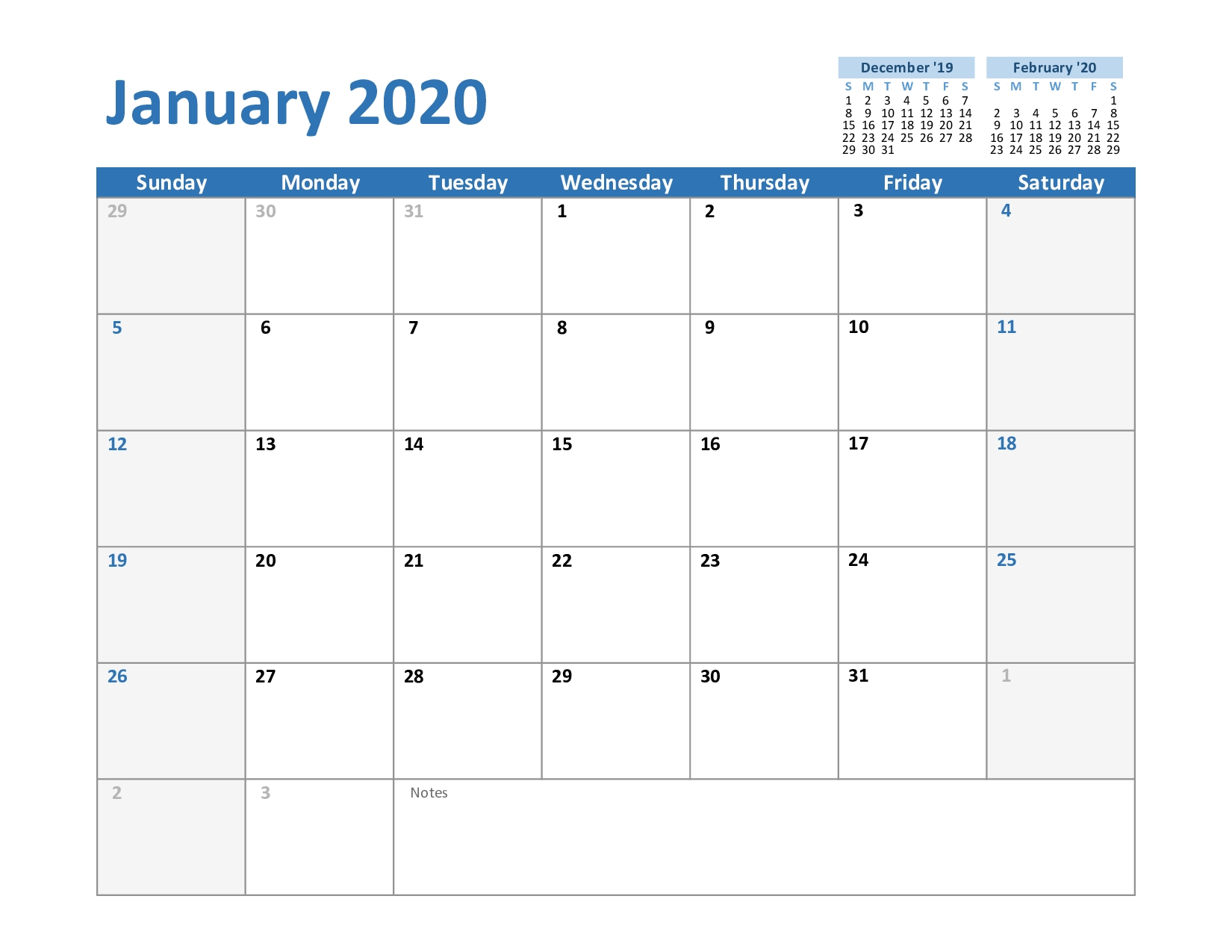 Blank January 2020 Calendar Printable In Pdf, Word, Excel throughout 2020 Julian Calendar Printable Pdf