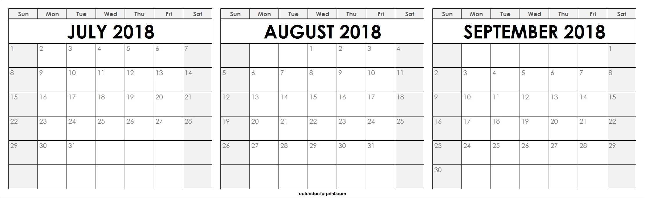 Blank July August September 2018 Calendar Template Free inside August And September Calendar Template