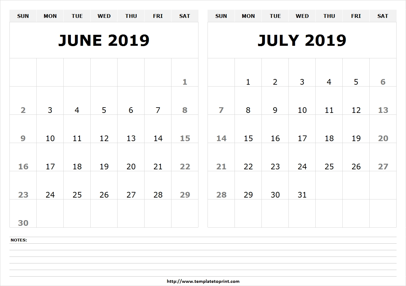 Blank June July 2019 Calendar Template | Latest 2 Month Calendar Design regarding 2 Month Calendar Template June July