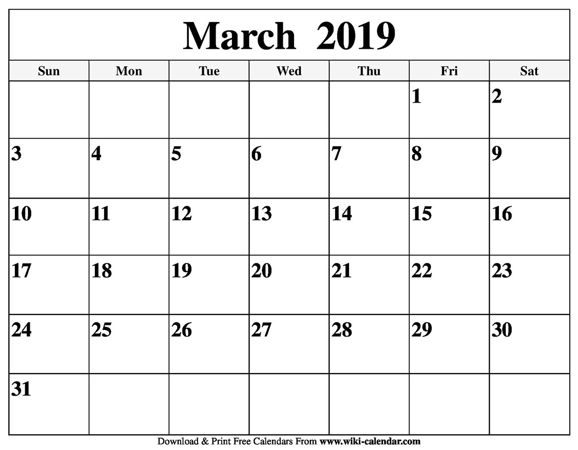 Blank March 2019 Calendar Printable for Free Calendars To Print Without Downloading