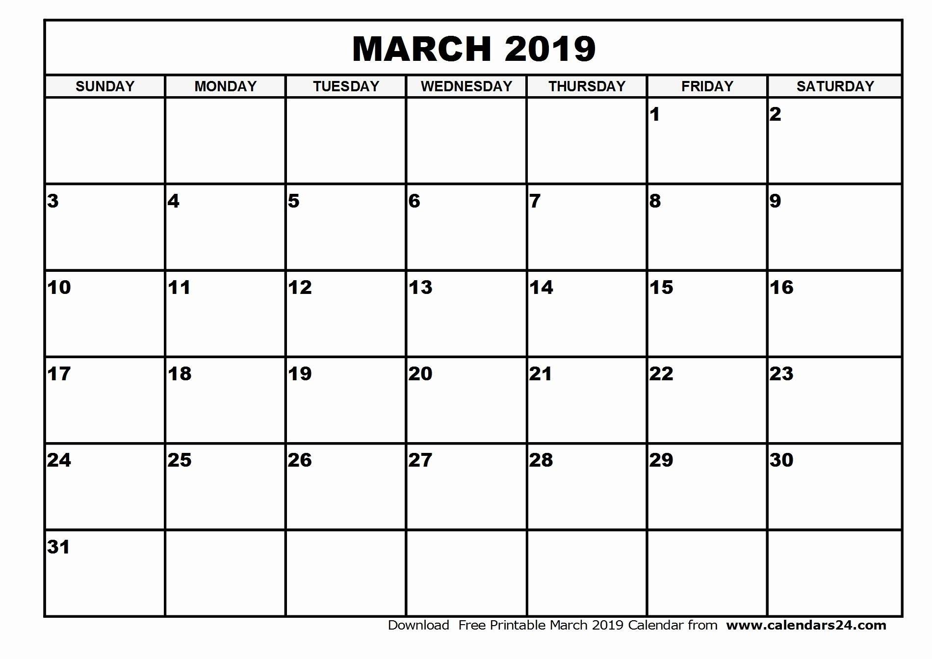 Blank March 2019 Calendar Templates Printable Download - July 2019 for Blank Monthly Calendar To Download Free