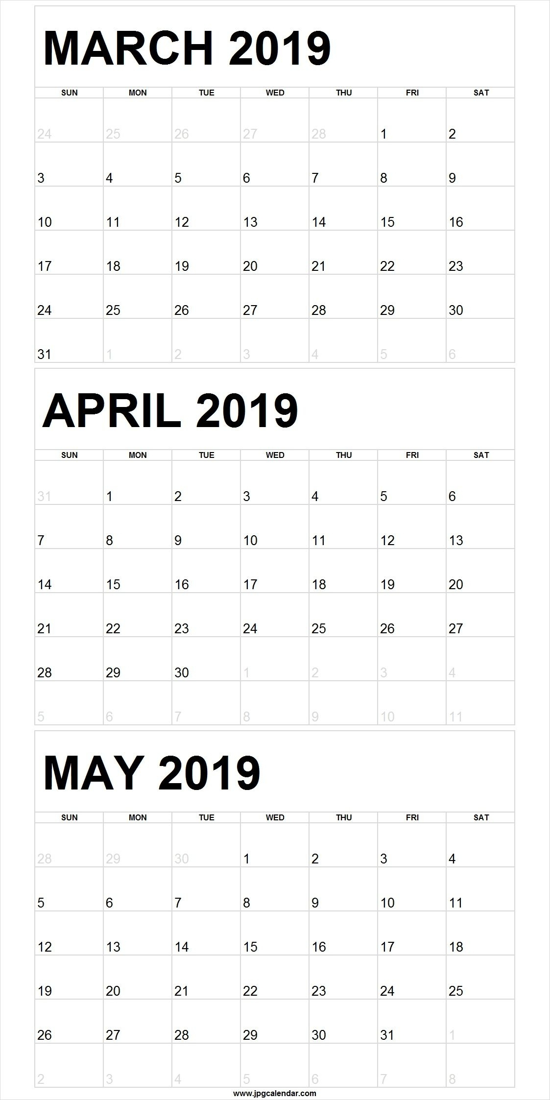 Blank March To May 2019 Calendar Printable #march #april #may for 3 Month Calendar Printable Template