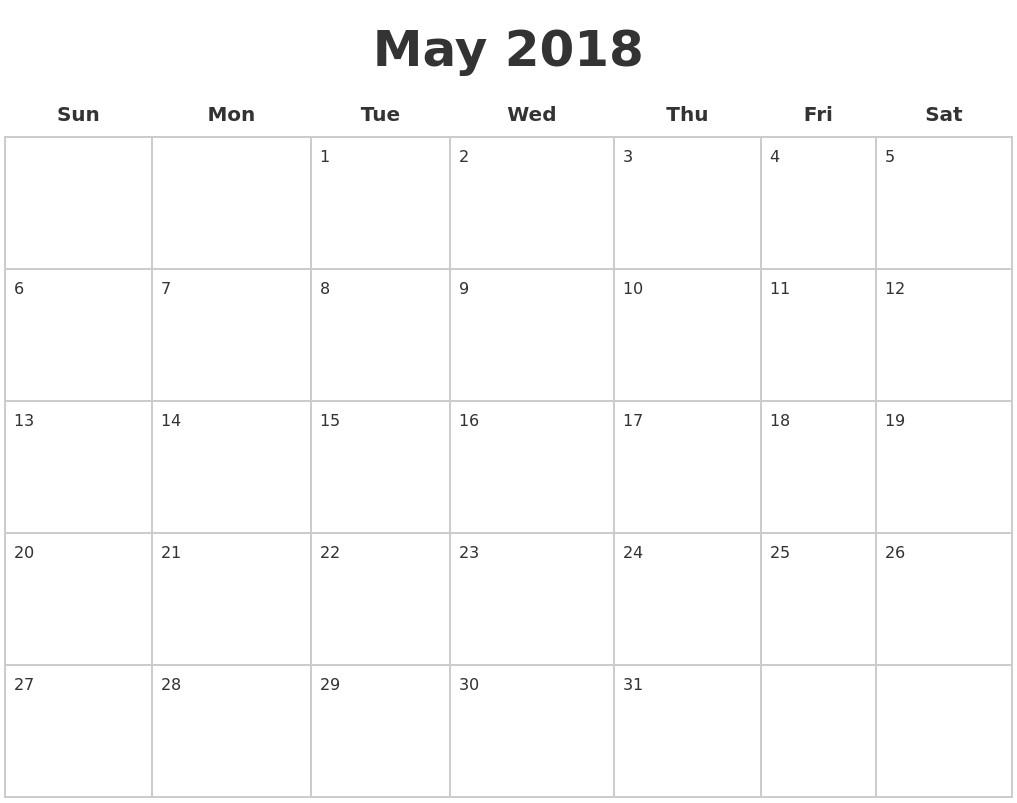 Blank May 2018 Budget Calendar With Notes For Blank 2018 Calendar for Blank Calendar Template With Notes