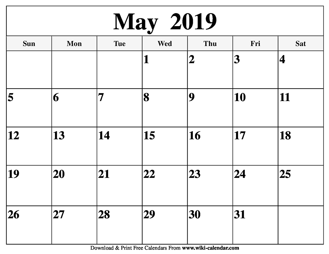 Blank May 2019 Calendar Printable throughout Free Calendars To Print Without Downloading