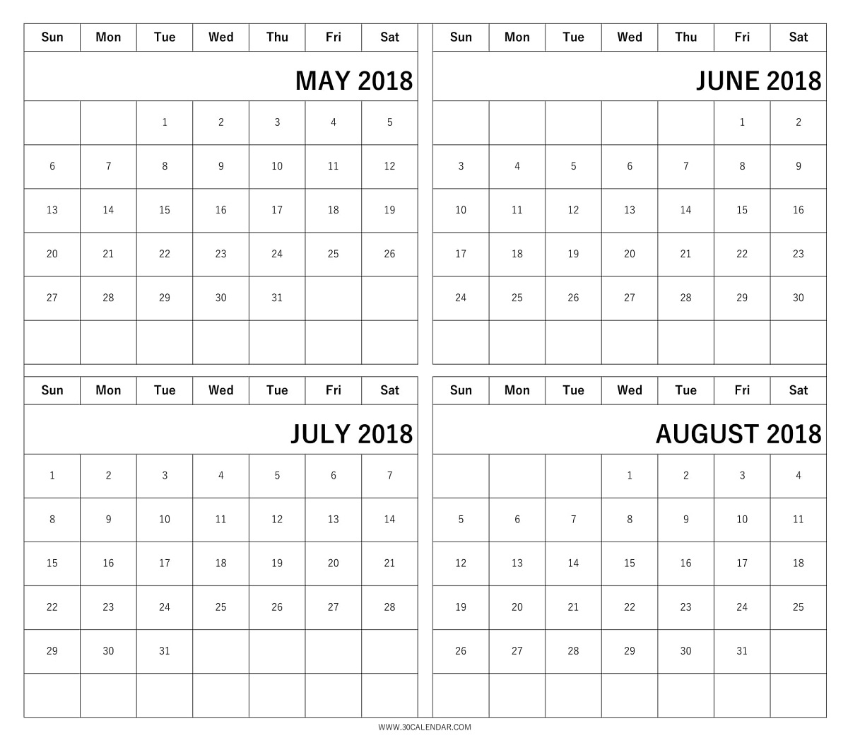 Blank May June July August 2018 Calendar   4 Month Template regarding May June July August Calendar