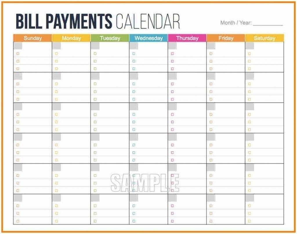 Blank Monthly Bills Calendar Printable | Template Calendar Printable inside Printable Monthly Bill Payment Calendar