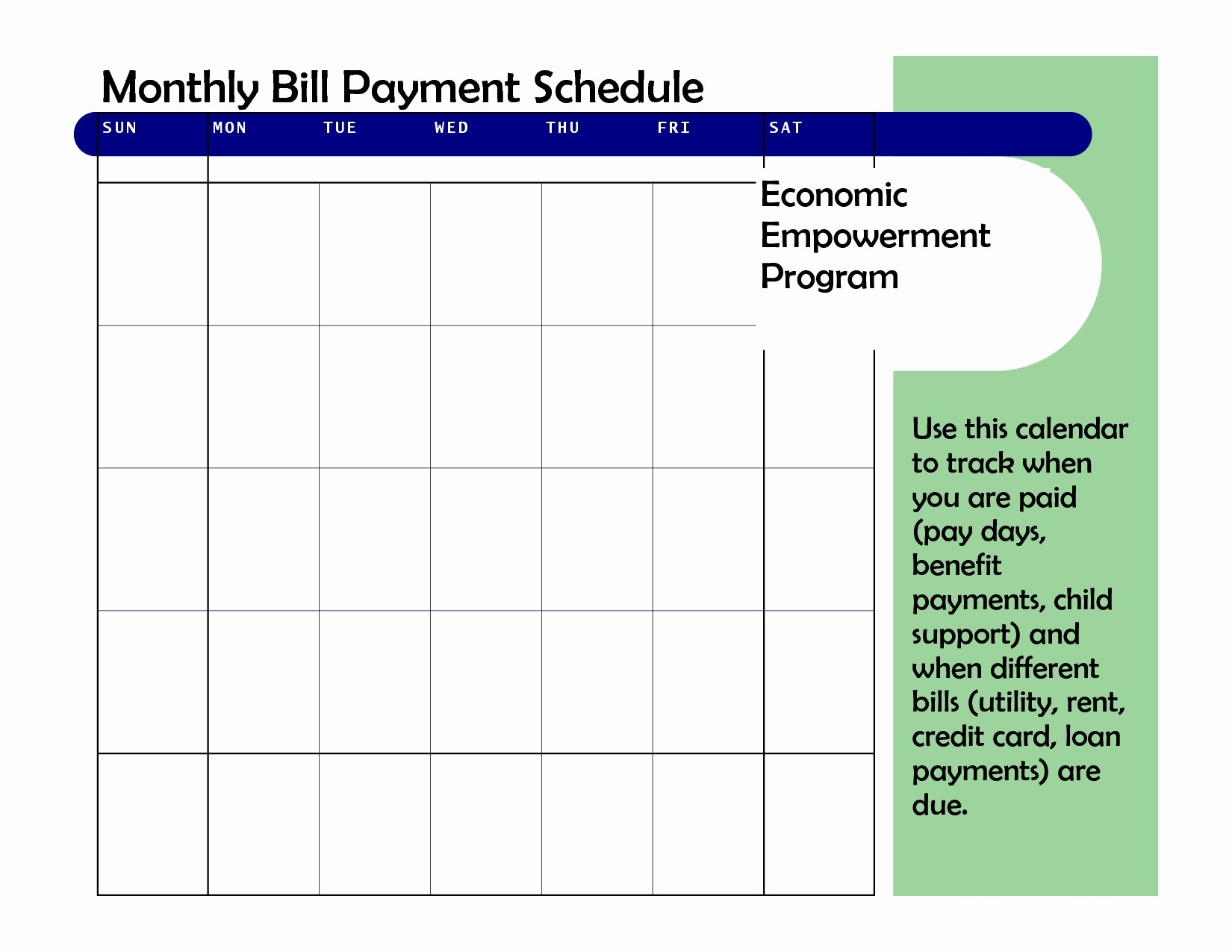 Blank Monthly Calendar For Bill Pay Printable Of Blank Monthly within Monthly Bill Payment Calendar Template