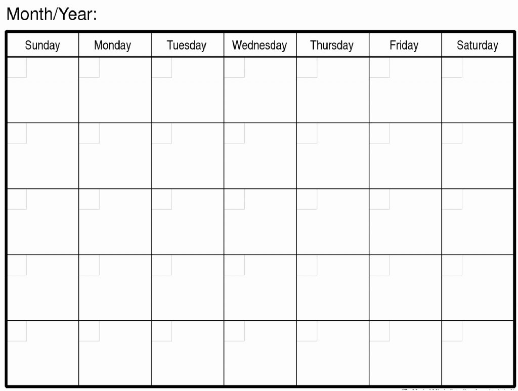 Blank Monthly Calendars To Print Free Calendar 2018 Printable inside Large Blank Monthly Calendar Template
