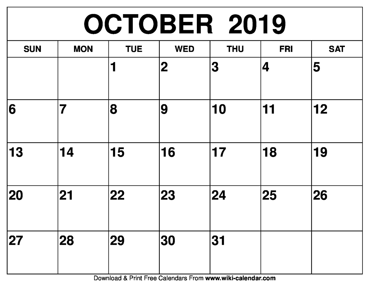 Blank October 2019 Calendar Printable within Football Theme Blank Dates Calendar