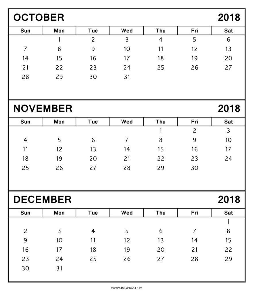Blank October November December 2018 Calendar Template | October with Month Calendar Printable Sept Oct Nov Dec